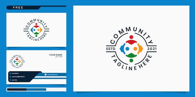 People foundation and community logo. logo design and business card