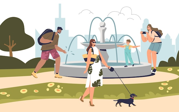 People at fountain in summer park walking have rest outdoors. group of cartoon characters with kids and dogs enjoy fresh air in park over city skyline background. flat vector illustration