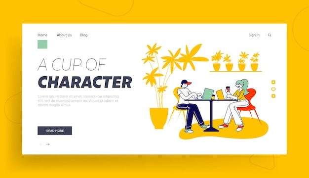 People freelancers with gadgets visiting restaurant landing page template.