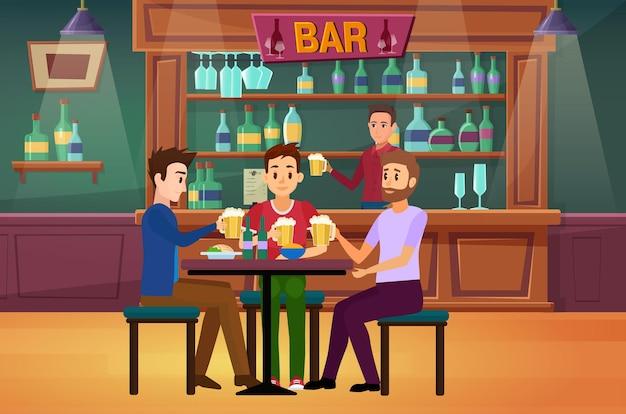 People friends drink beer in bar or pub guys drinking having fun holding beer glasses