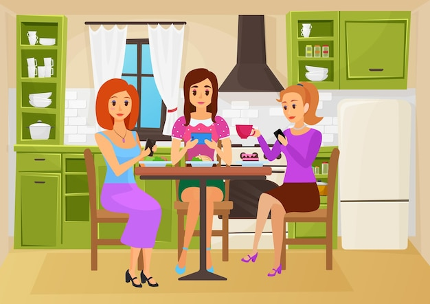 People friends eat food in cute kitchen together friendly meeting of hungry girls