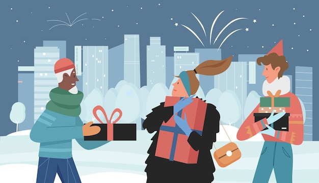 People friends give christmas gifts in winter snow cityscape