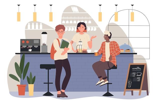 Люди друзья встречаются в баре пабе или кофейне за кофе