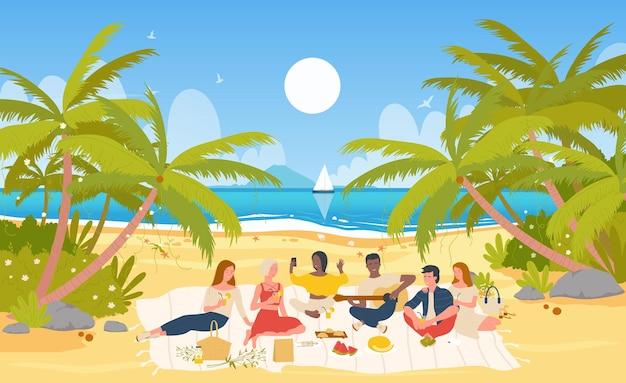 Люди друзья на пикнике летом тропическое море пляж сидят вместе пить