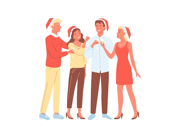 People friends party celebration cartoon young happy man woman characters celebrate new year holiday