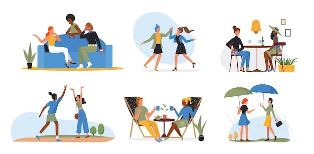 人々の友人は一緒に時間を過ごし、若い女性のキャラクターはワイントークダンスを飲みます