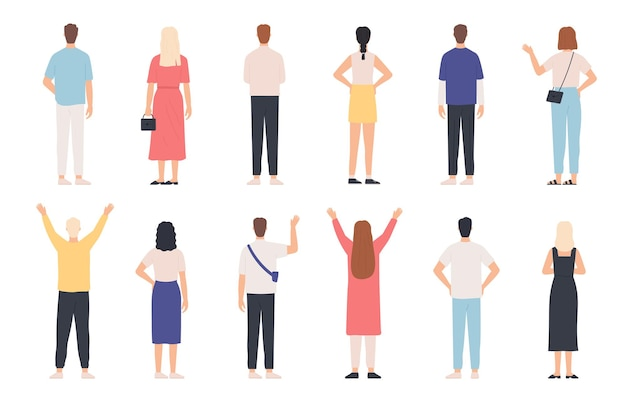 後ろからの人。大人の男性と女性の背面図立ちポーズ。手を上げて手を振って幸せな人。服のベクトルセットで後部人間。カジュアルな服装の女性と男性のキャラクター
