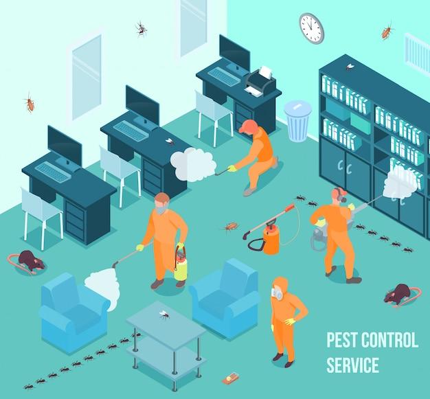 Люди из службы борьбы с вредителями делают дезинфекцию в офисе 3d изометрические векторная иллюстрация