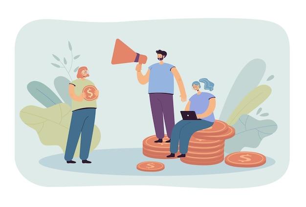 Люди финансируют денежную иллюстрацию