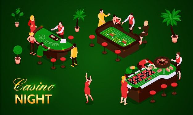 People gambling in casino isometric icons set isolated on green background 3d  illustration