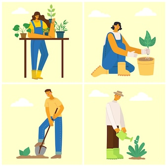 People gardeners. man with wheelbarrow of earth, a woman holding a flower pot and watering can. vector illustration in a flat style