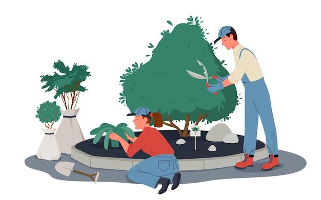 Люди-садовники работают в саду или парке, подрезают растения. обрезка или обрезка зеленых деревьев и кустарников