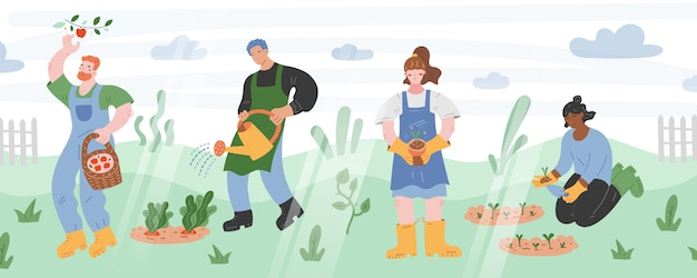 People gardening, cartoon illustration