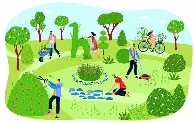 People gardening in park, men and women planting greenery and cutting bushes,  illustration