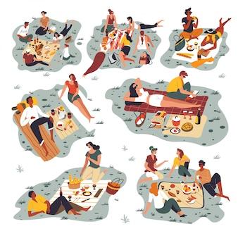 週末を屋外で過ごすピクニック、友人に集まった人々