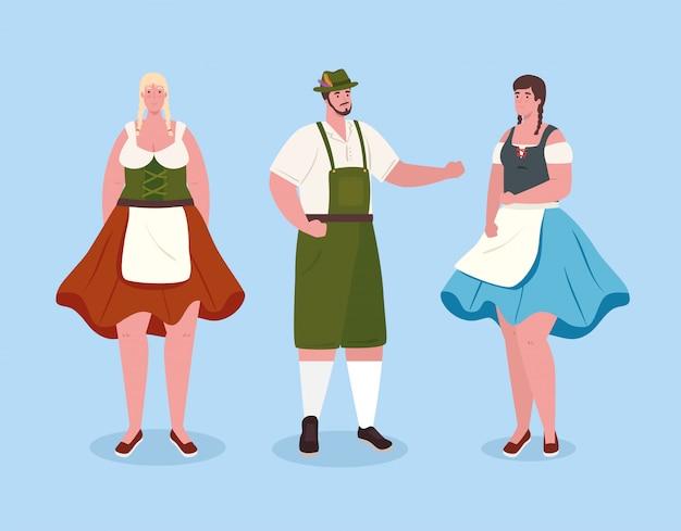 Немецкие люди в национальных костюмах, женщины и мужчины в традиционном баварском костюме, векторные иллюстрации
