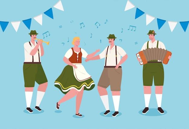 Немецкие люди в национальных костюмах танцуют, мужчины и женщины в традиционных баварских костюмах векторные иллюстрации дизайн