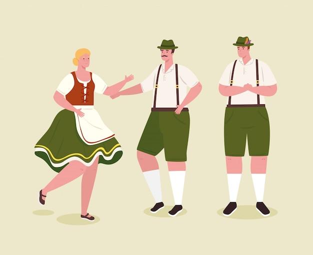 Немецкие люди в национальной одежде, мужчины и женщины в традиционном баварском костюме, векторные иллюстрации