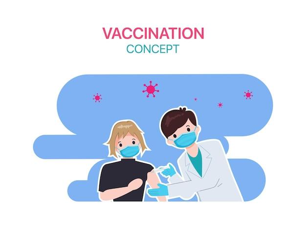사람들은 병원에서 의사와 함께 코로나 19 백신 접종