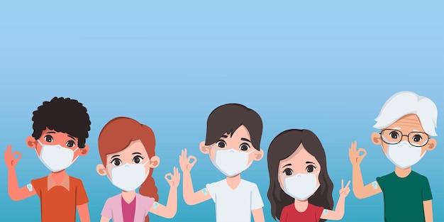 人々はウイルスから保護するために病院でcovid19ワクチンを接種します