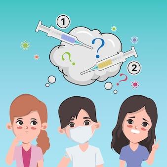 Le persone ricevono il vaccino contro il covid19 in ospedale per proteggersi dal virus