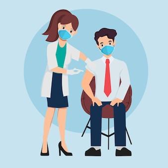 사람들은 바이러스로부터 보호하기 위해 의사와 백신을 맞습니다. 무료 벡터