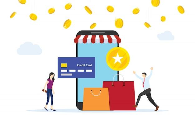 クレジットカードでのオンラインショッピングの支払いからポイントを得る人々。フラットスタイルの漫画のデザイン