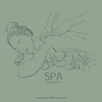 People getting spa treatment in hand drawn style