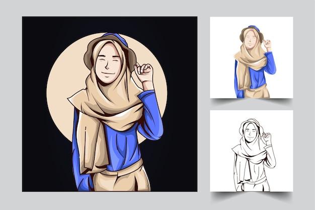 人々の女の子のマスコットのロゴのデザインと予算のためのモダンなイラストのコンセプトスタイル