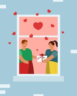 People give each other a gift. love in the window, hearts flying around. valentine s day