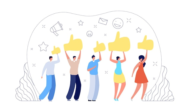People give rate. customer choice, woman man rank satisfaction. client good review, success work or quality feedback vector illustration. feedback review, business positive satisfaction