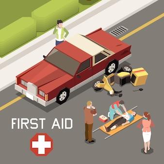 자동차 사고 3d 아이소 메트릭 그림의 결과로 부상당한 사람에게 응급 처치를하는 사람들