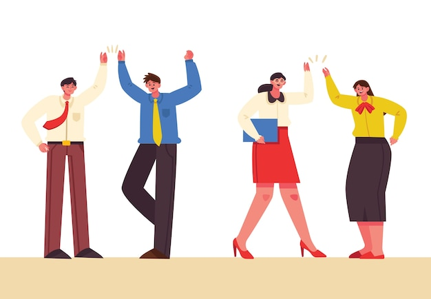 People giving high five concept for illustration
