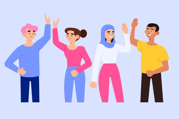 People giving high five illustration concept