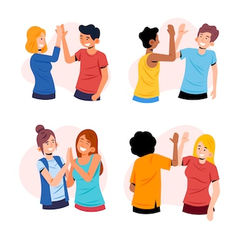 People giving high five illustration design