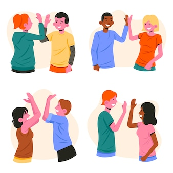 People giving high five illustration theme