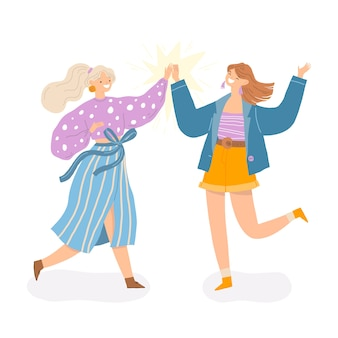 People giving high five illustration