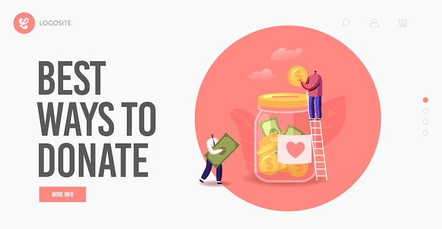 People giving money landing page template. donation, volunteers charity. tiny characters on ladder throw coins and bills into huge glass jar with heart sticker for donate. cartoon vector illustration