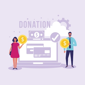 People giving online donation in charity day illustration