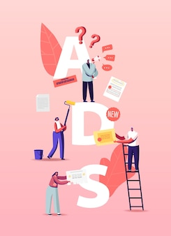People giving and reading ads illustration