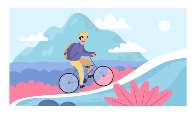Люди катаются на велосипеде. банеры для велотуризма. велоспорт и гонки на горных велосипедах. велосипед езда приключения векторные иллюстрации шаржа.