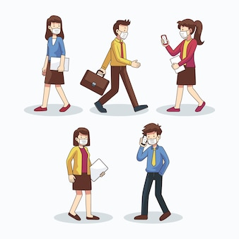 People going back to work illustration pack