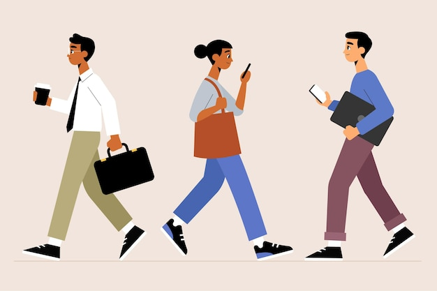 People going back to work illustration