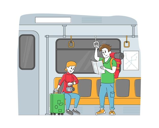 Люди едут на поезде метро