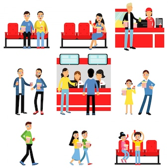 People going to the cinema or movie theatre set, man and woman buying tickets, popcorn, drinks colorful   illustrations