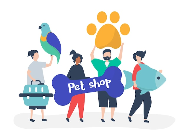 애완 동물 가게에가는 사람들