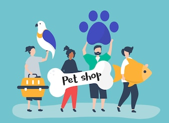 People going to a pet shop