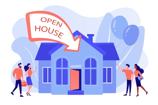 新築祝いのパーティーフラットキャラクターに行く人々。オープンハウス、検査物件のためにオープン、あなたの新しい家、不動産サービスのコンセプトへようこそ。ピンクがかったコーラルブルーベクトル分離イラスト