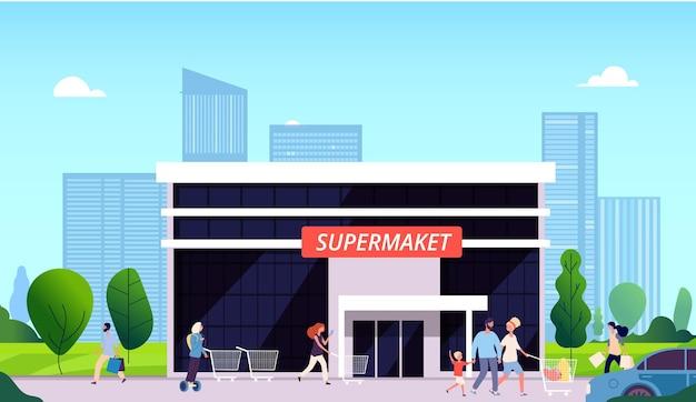 슈퍼마켓에가는 사람들. 쇼핑몰 거리, 식품점 및 도시 풍경. 쇼핑백 바구니 카트 벡터 삽화를 들고 있는 작은 여자 남자 아이. 슈퍼마켓 상점, 시장 몰과 사람들