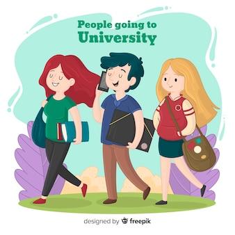 大学に行く人々